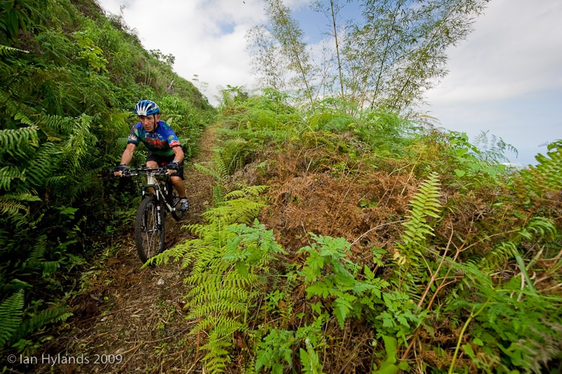 David Linehan of riding the trail down from Murphy Hill during the Jamaica Fat Tyre Festival