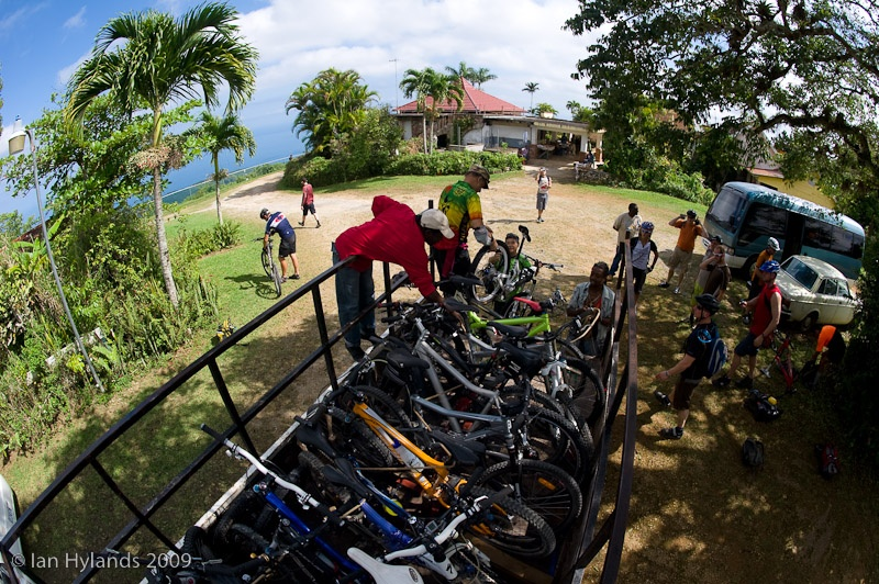 Unloading bikes at the top of Murphy Hill