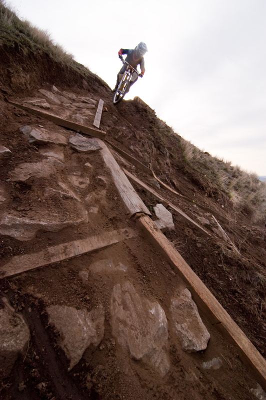 You want steeps, he gives you steeps. The course sends you straight down an gnarly rocky pitch.
