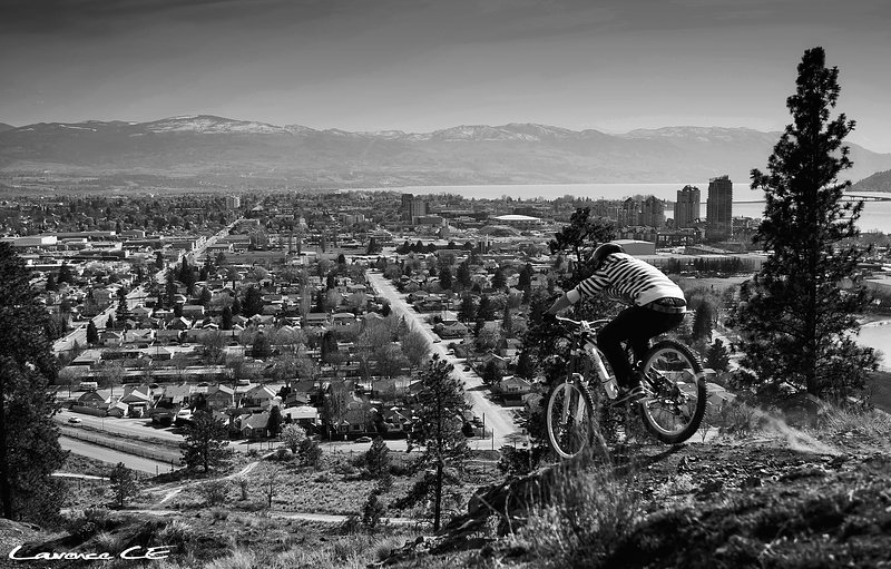 """""""Dropping"""" into the waterfall at Knox looking over downtown Kelowna - Laurence CE - www.laurence-ce.com"""