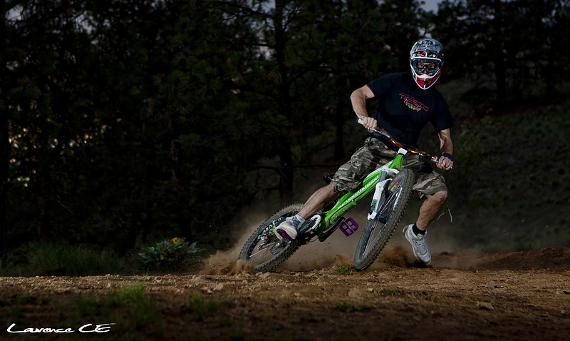 Chris getting his slide on in some silty dirt - Laurence CE - www.laurence-ce.com