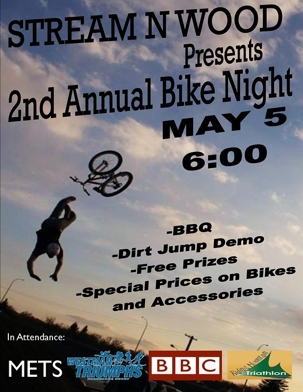 We Will be doing our bike night again may 5. Come On Out see some tricks go down but even better some good crashes bound to happen. See you there