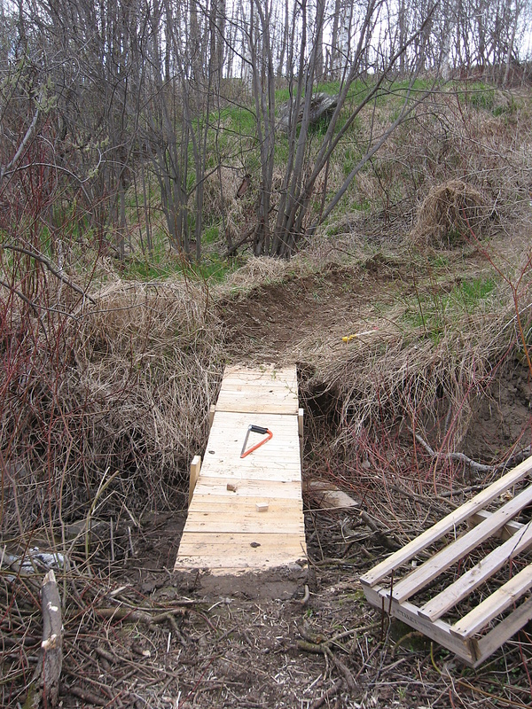 new berm and bridge after the drop