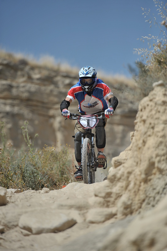Tristan racing with an aggressive hardtail!