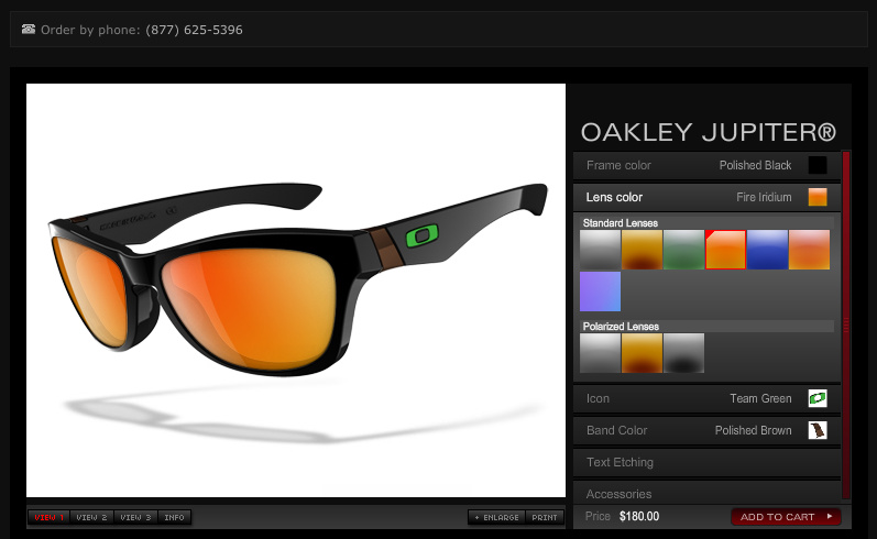 Oakley's online custom glasses program is easy to use and gives you a  preview of what