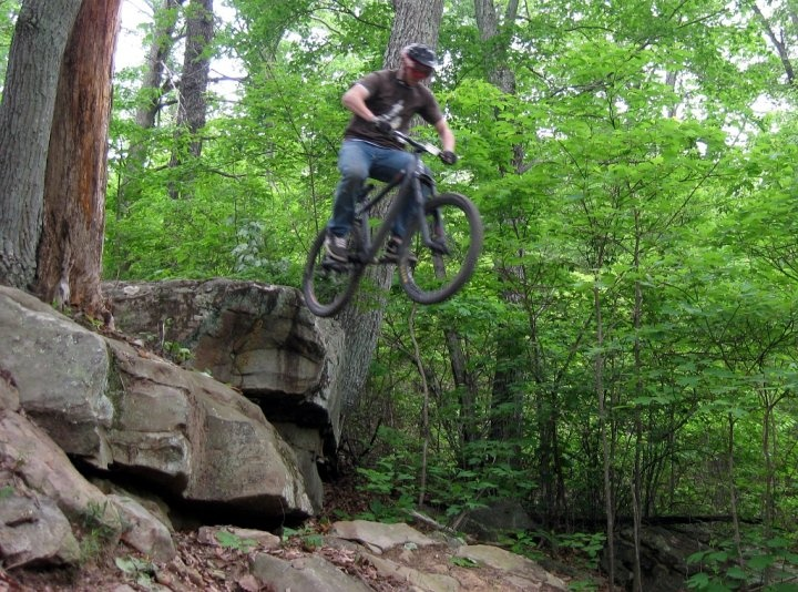 On my new hardtail.  Bleh, landed it but then skidded out, oh well.