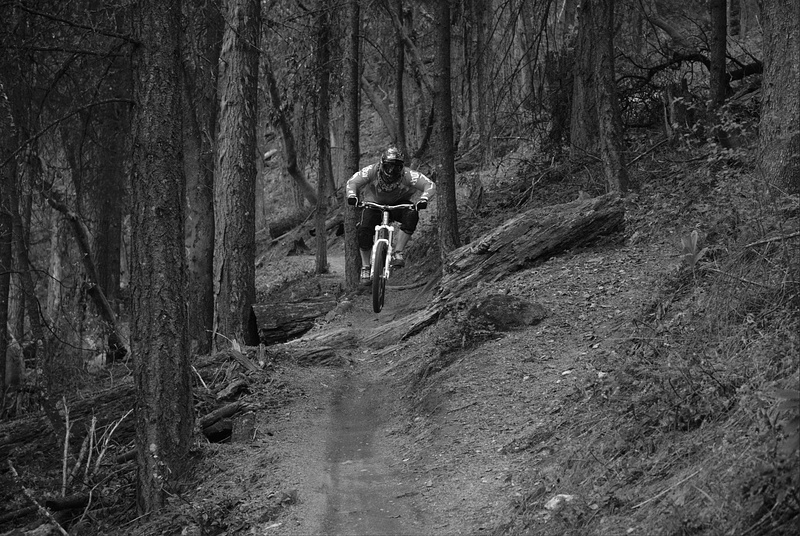 Ashland Spring Thaw DH 2010. Shredding. In monochrome. Photo by Zak Owens (PB user: djzmowens) on a Nikon D40x