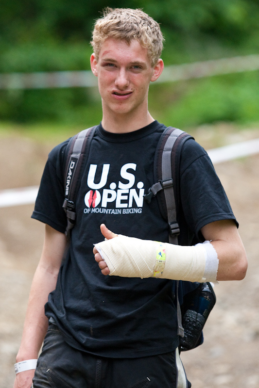 This is the kid who got medevaced. He's a trooper, back shooting photos after being out cold for 15 minutes and a medical flight.