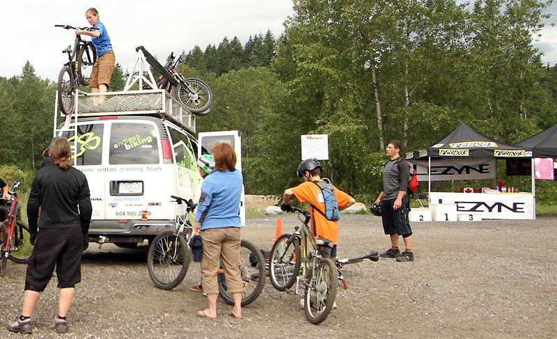 Gwen loaded bikes for the drive to the trailhead at Fromme, guided and helped film.  It's not all play working with Endless