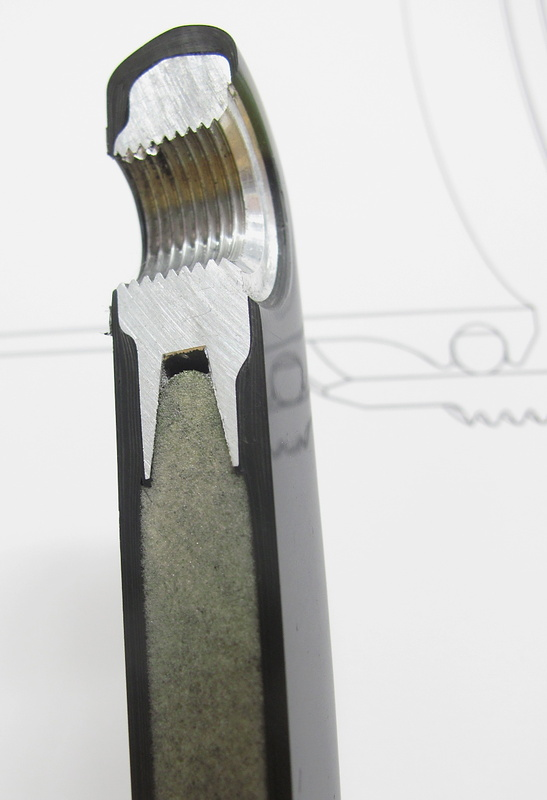 The aluminum pedal insert is keyed to fit into the stiff foam core
