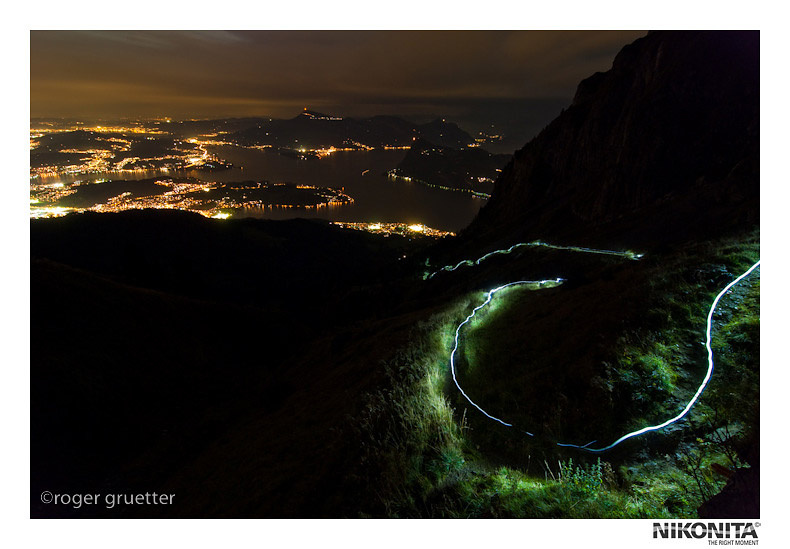 Nightride from the Top of Mt. Pilatus to the Lake Lucerne
