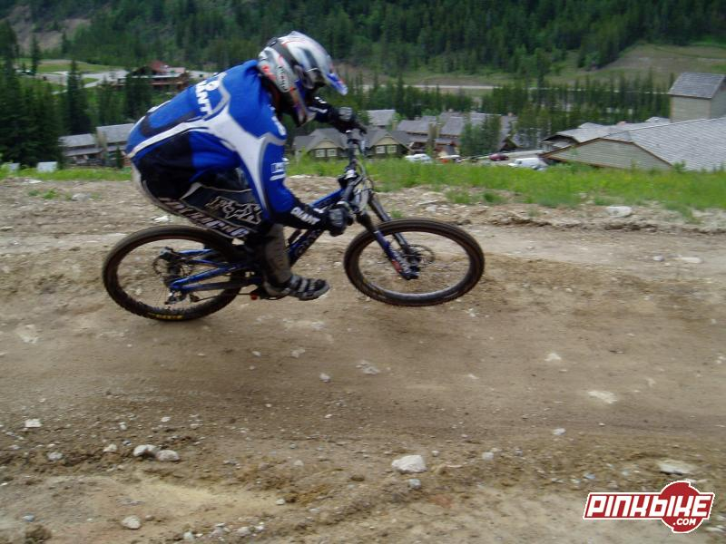 Exiting the final berm during practice