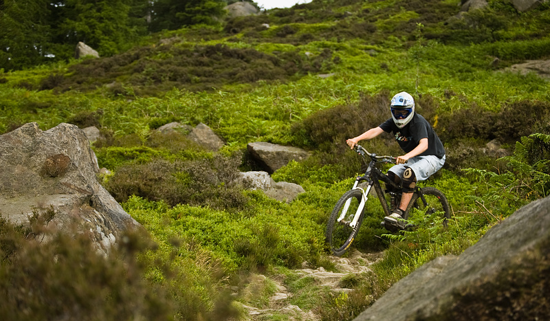 Lew riding the rockgarden at Ilkley