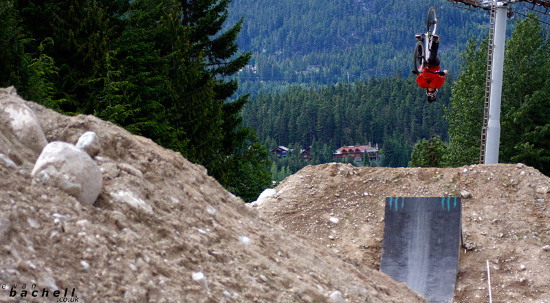 Riders from Camp of Champions in Whistler Bike Park.   The old Flippity Floo