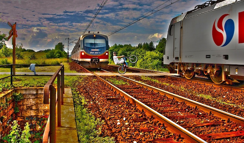 TWO trains, ONE bike, HDR version photo by Michał Niewdana/ edit by Michał Litwicki