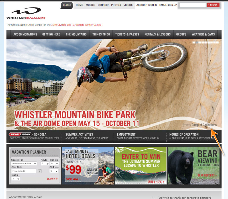 The splash page on the Whistler Blackcomb homepage is COC coach Justin Wyper testing out the Boneyard. Stoked! THanks WB. THanks Mike.