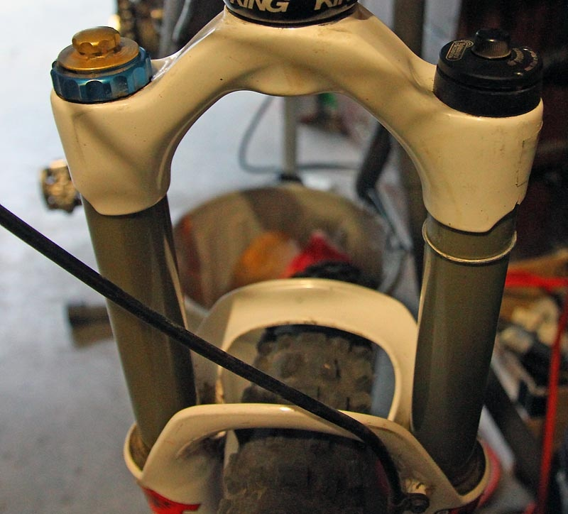 Well-used Magura Thor after some 30 days of riding - uppers feature the distinctive double arch. Integrated brake cable guide is visible in lower right corner of screen