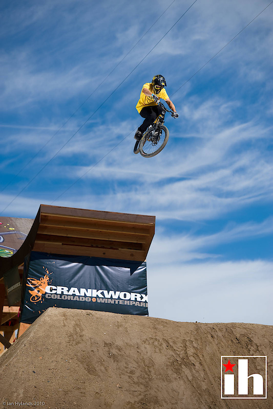 Cam McCaul thinks about the front flip in practice at Crankworx Colorado...