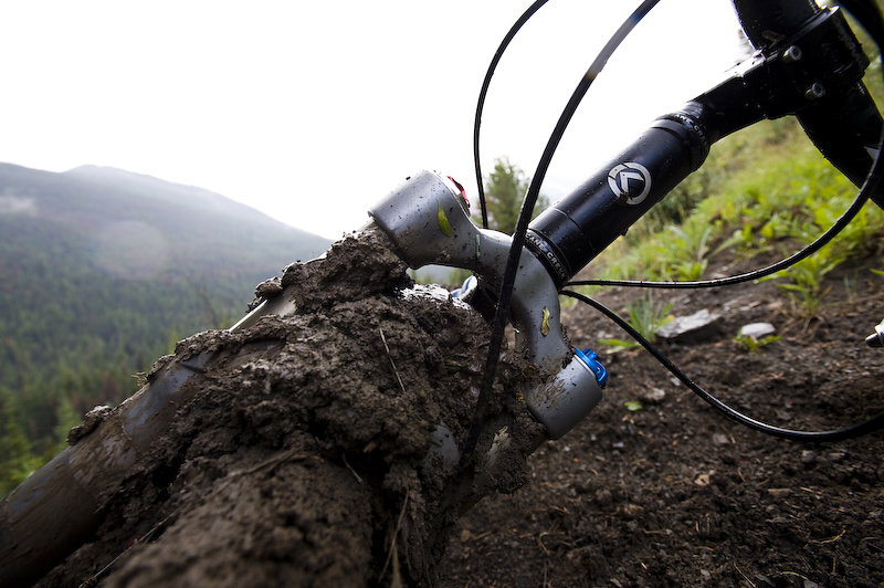 A mini rain storm made the trails so sticky and muddy, that we couldn't even ride downhill. There's nothing as aggravating as having to carry a perfectly good bike down the trail.