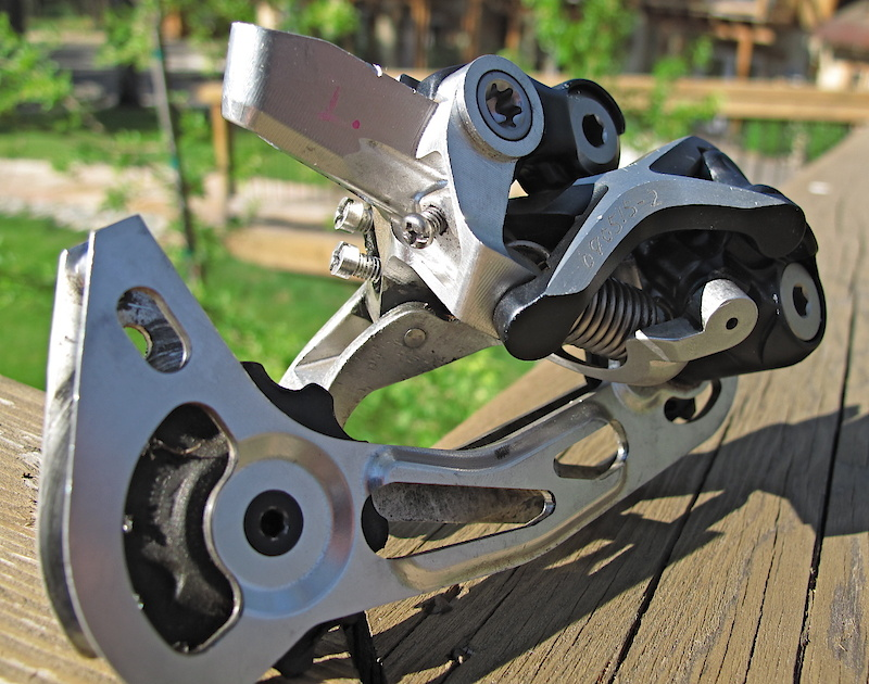A functioning XTR derailleur prototype that was used to test A-arm geometry. This was one well used unit.