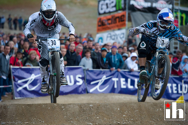 Gee Atherton and Mitch Ropelato, 1st run of the men's final, Mitch crashed seconds after this shot was taken