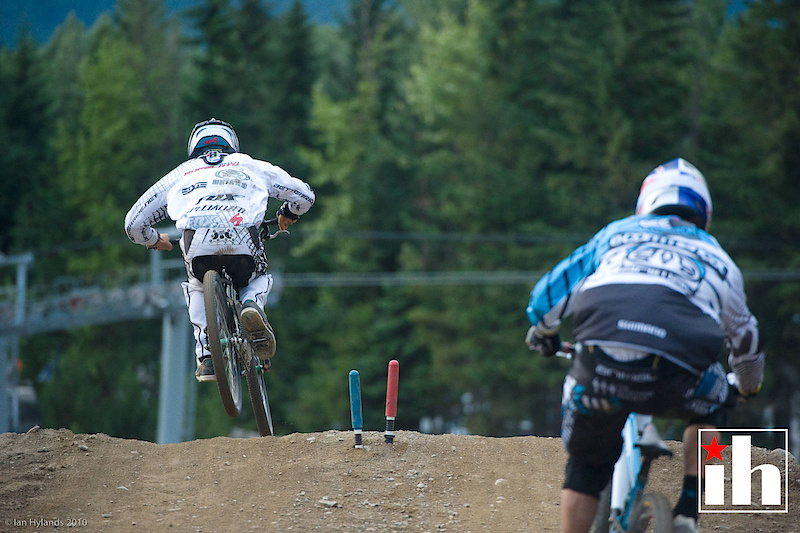 Mitch Ropelato and Gee Atherton. Mitch took the 2nd run by a decent margin but couldn't make up the 1.5 seconds he needed after his first run crash