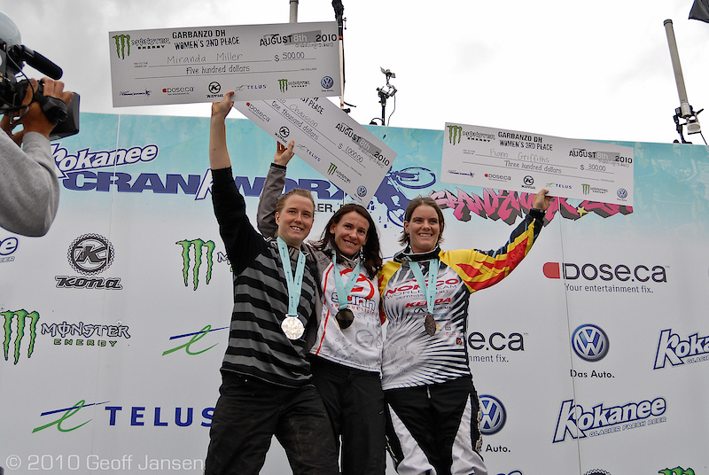 Anne Caro Chausson, Miranda Miller and  Fionn Griffiths pose on the podium.