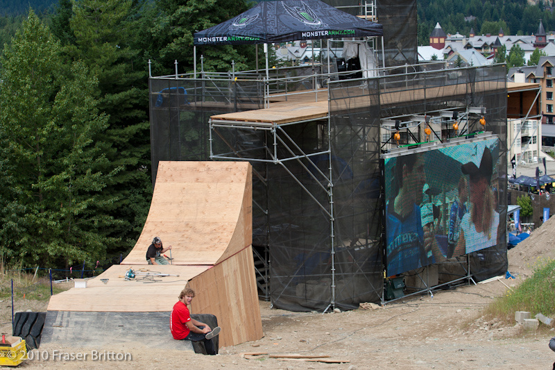 Riders will step up to the top of the judges tower via a rather large wooden booter..