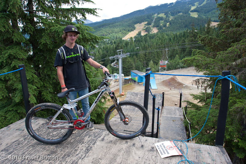 The 2010 Crankworx course starts with this drop-in step down onto a transition that shoots you out toward the next feature..