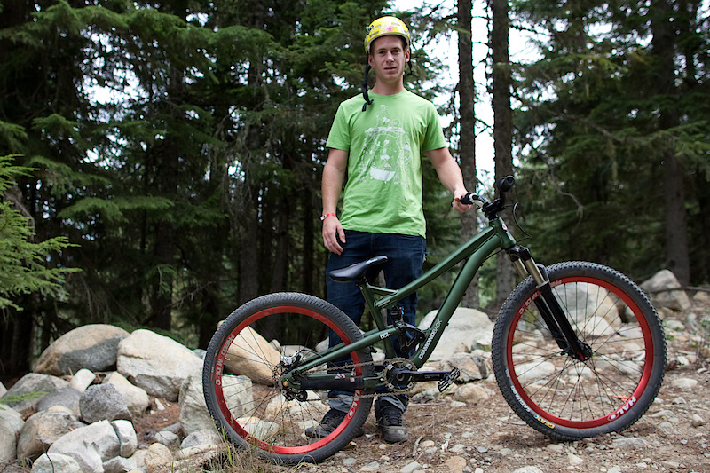 Sam Pilgrim and his prototype Diamondback slopestyle bike. Don't go looking for this bad boy in your local shop anytime soon, if and when it goes into production it will be a 2012 model year bike. Think of Pinkbike as your own personal time machine!