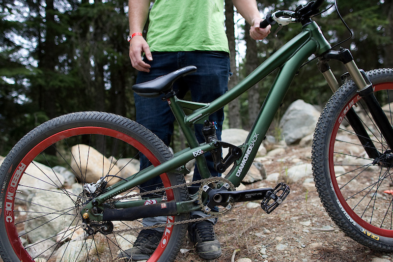 Pilgrim's bike is set up as a pure slopestyle bike; singlespeed with a tensioner, only a single brake that uses a small 5