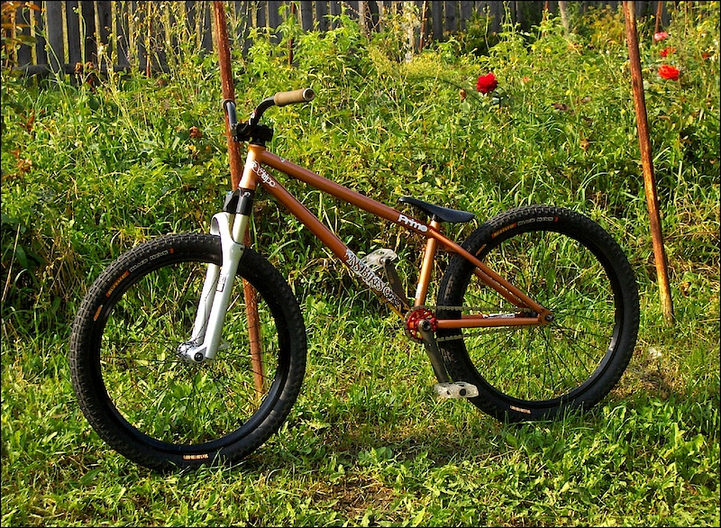 Ns Capital '09 frame, RS Pike 454Dual Air suspension fork, Ns District high bar, Eclat complex seat, Fly cranks with Bts 23T sprocket, Proper rear and Prodigy front hubs, Fit DLD stem and Fit plastic pedals, Primo grips, Sun S-type front and WTB dual duty rear rims and Duro buffalo black hawk tires :) I hope you like it! :D