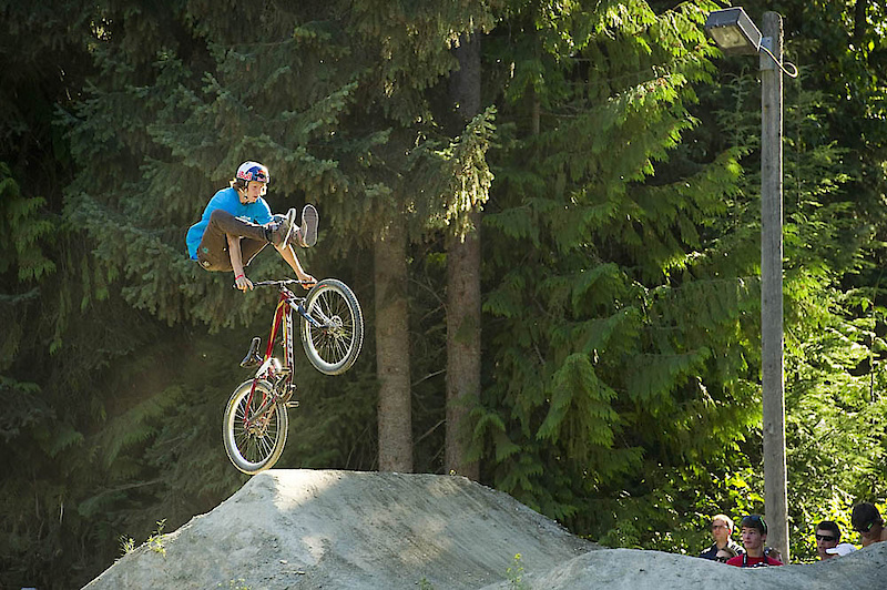 Brandon Semenuk with a heel clicker during Kirt Voreis' Jump Jam. So much talent--best wishes to a speedy recovery to Semenuk as well as the other riders injured during this year's Crankworx.