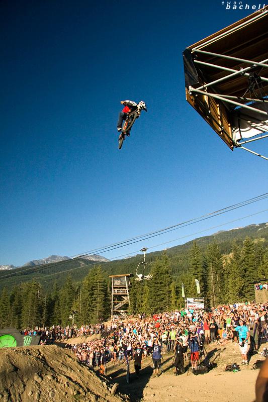 Crankworx Monster Energy Slopestyle, Whistler, BC.  Cam Zink 360 #2 off Monster Energy Gap during his winning run.