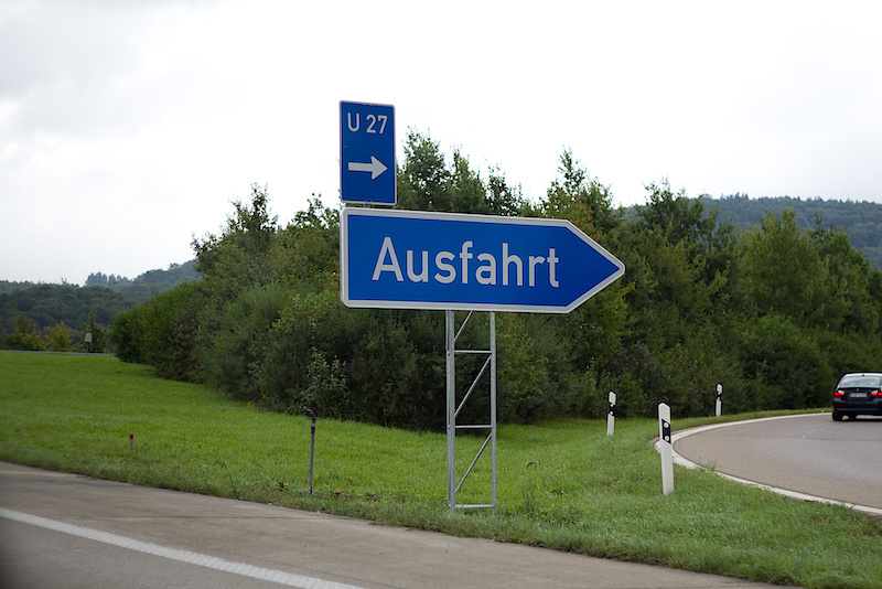 Important lesson learned: get to know a few key words of the native language before crossing the border. Once on the highway we kept seeing signs for the German town of Ausfahrt. Look up the translation and have a laugh at our expense!