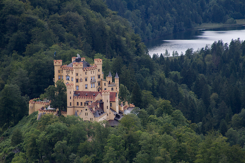 The Hohenschwangau castle sits just below Ludwig's masterpiece. I'd be happy to live in either!