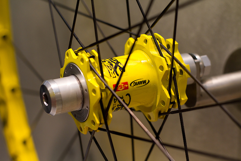 Mavic had their Deemax wheels hanging up in both standard version and the lighter yellow Ultimate model pictured here.