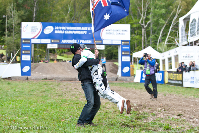 <img src='//ep1.pinkbike.org/p1pb6168857/p1pb6168857.jpg' /> Troy and his dad celebrate an extremely close World Championships victory at Mont Ste Anne in 2010. Mom got held back by security and was none too happy about it.