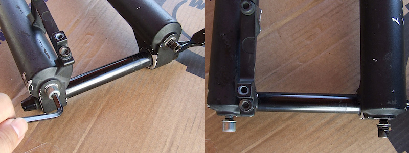<span style='font-size:20px'>Step 3.</span>  Use 5mm hex key to loosen both foot bolts by 3 or 4 turns. Do not remove either completely.