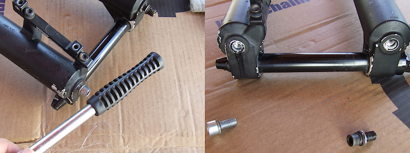 <span style='font-size:20px'>Step 4.</span> Tap both foot nuts with the rubber mallet until you feel the rods come free of the lowers. Remove the foot bolts, being careful of any lube oil that may drain from the fork lowers.</span>
