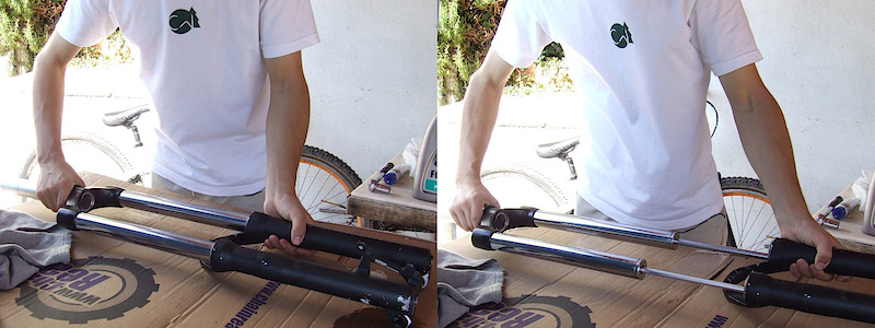 <span style='font-size:20px'>Step 5.</span>  Pull the lowers off of the stanchion tubes and set them aside after cleaning.