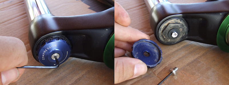 <span style='font-size:20px'>Step 6.</span> Using the 2mm hex key, unscrew the small bolt that holds the compression knob in place. Remove both and place somewhere safe. (<I>only for Domain 318, the 302 does not have adjustable compression.</I>)