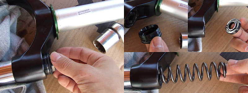 <span style='font-size:20px'>Step 9.</span> Using the 24mm socket, remove the spring side fork cap. Now you can take out the spring.