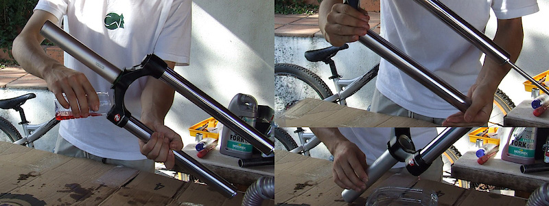 <span style='font-size:20px'>Step 14.</span> Use a rag to clean the inside of the damping side stanchion, being sure that it is free of any bits of rubber from worn O-rings or lint from the rag.