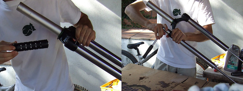 <span style='font-size:20px'>Step 18.</span> With the rebound rod fully extended, gently sink the compression assembly into the oil and tighten the top cap with your socket wrench.