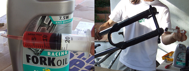 <span style='font-size:20px'>Step 22.</span> Measure out 15ml of 15W suspension oil. With the fork upside down, pour in the lube oil through the foot bolt holes at the bottom of each leg. Each side should receive 15ml.