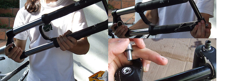 <span style='font-size:20px'>Step 23.</span> Still holding the fork inverted, slide the lowers down the stanchion tubes until both the damping and spring rod make contact with the bottom of the lowers. Reinstall both foot bolts to the proper torque, being sure to use the hollow bolt on the damping side and the solid bolt on the spring side.