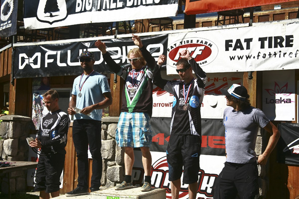 Pro Mens Podium (l to r) Joel Armstrong 4th, Mathew Slavin 2nd, Nathan Riddle 1st, Jared Hobbs 3rd and Adam Craig 5th Photo By Carl Warren