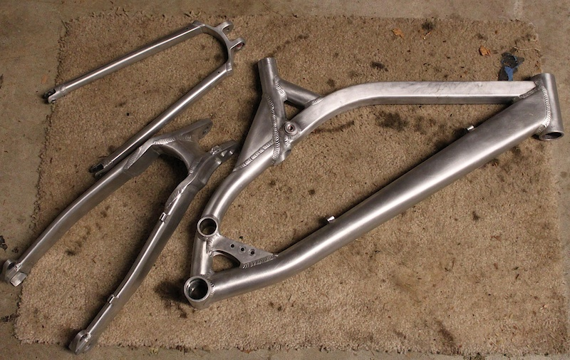 Got my frame stripped and ready for a powder coat.