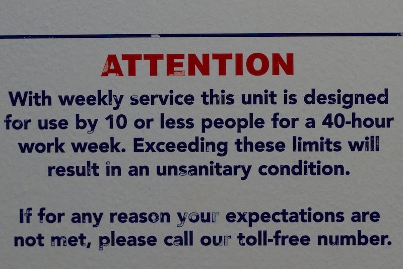 This is what I will leave you with. This was posted inside a port-a-potty at the Outdoor demo. Judging by the amount of people at the show I am sure that these toilets exceeded their limits, but hey, as long as you don't sit down you are good to go!